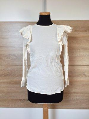 Weiße Rüschen Bluse, Langarm Shirt von H&M, Gr. 34 (NEU)