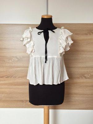 Weiße Rüschen Bluse, schwarze Schleife von Zara, Gr. S