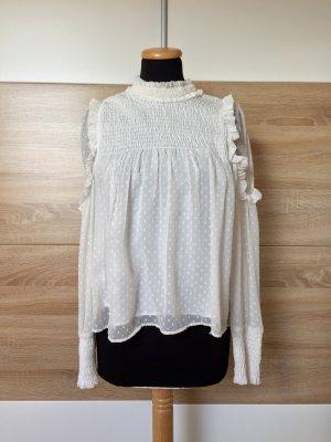 Weiße Rüschen Bluse von Zara, Gr. S (NEU)