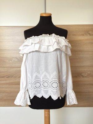 Weiße Rüschen Lochmuster offshoulder Bluse von Zara, Gr. XS (NEUw.)