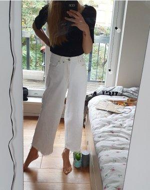 H&M Jeansowe spodnie dzwony biały Bawełna