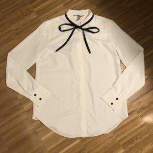 H&M Bluzka z kokardą biały-czarny