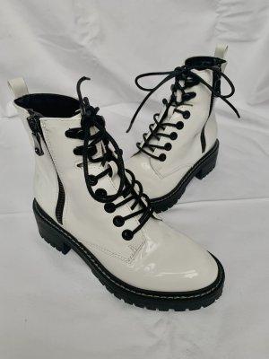 H&M Combat Boots white-black polyamide
