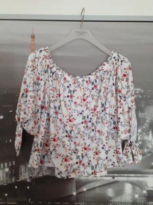 Weiße schulterfreie Bluse von Tally Weijl Größe s weiß geblümt