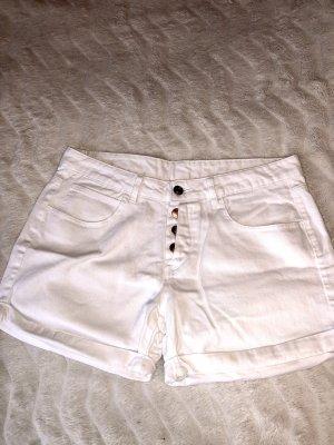 Amisu Pantalón corto de tela vaquera blanco