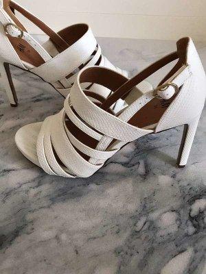 Weiße Sommer Sandaletten, Schlangenleder Optik, 38, H&M, neuwertig