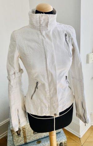 Mango Veste motard blanc coton