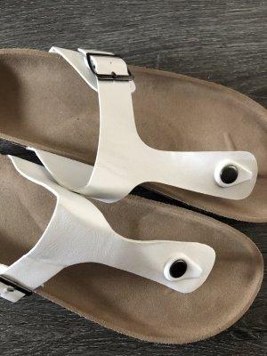 Sandalias con talón descubierto blanco-marrón claro