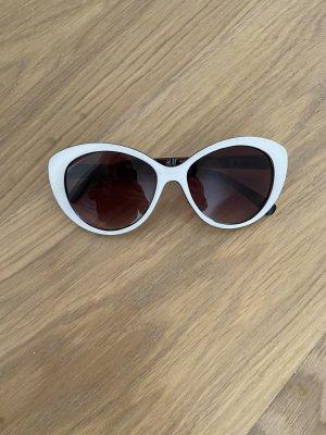 H&M Gafas de sol ovaladas blanco-marrón oscuro