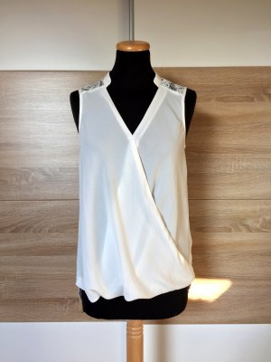 Weiße Spitze Bluse, Shirt Top von New Look, Gr. 34