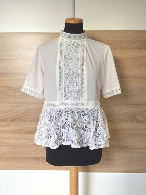 Weiße Spitzen Bluse Kragen Peplum von Zara, Gr. M (NEU)
