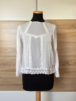 Weiße Stickerei Baumwolle Bluse von Zara, Gr. M (NEU)