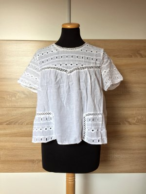 Weiße Stickerei Lochmuster Baumwoll Bluse von Zara, Gr. L