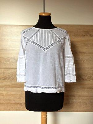Weiße Stickerei Lochmuster Bluse von Zara, Gr. M