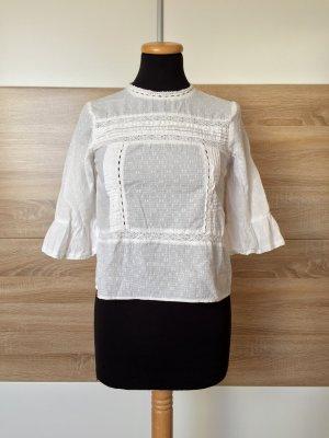 Weiße Stickerei Lochmuster Volants Bluse von Zara, Gr. XS