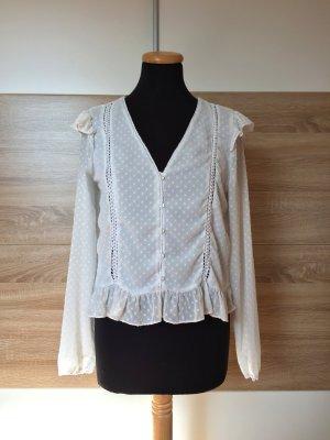 Weiße Stickerei Rüschen Bluse von Zara, Gr. M