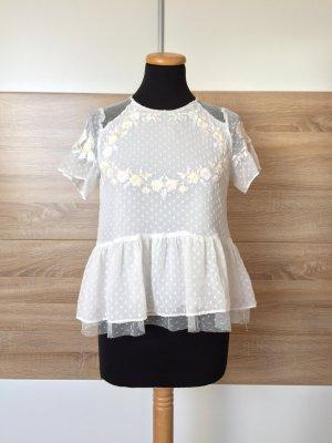Weiße Stickerei Rüschen Bluse von Zara, Gr. XS