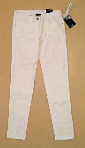 weiße Stoffhose mit Etikett, ankle length, low waist, Gr. 38