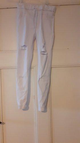 weiße Stretch leggings destroyed look