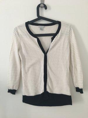 H&M Basic Gilet tricoté blanc-noir coton