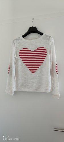 weiße Strickpullover mit Herz