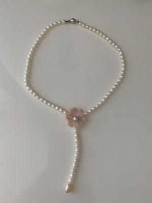 Naszyjnik z perłami biały-różany