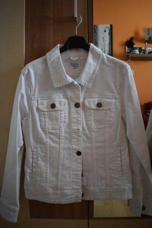 weiße taillierte Jeansjacke