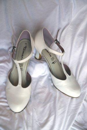 Tamaris Zapatos de tacón con barra en T blanco-blanco puro