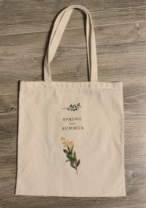Weiße Tasche Blumen Totebag