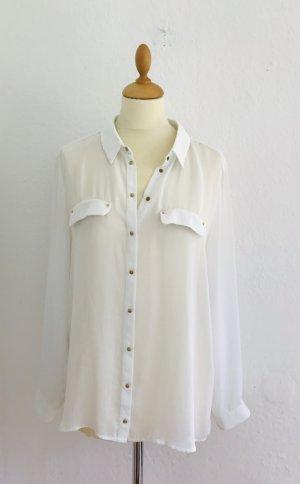 Weiße transparenz-Bluse von MNG Collection, Gr.XL, 40, 42