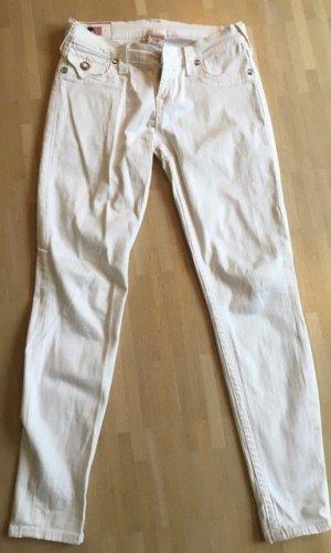 Weiße True Religion Jeans mit silberfarbenen Knöpfen