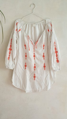 H&M Tunic white-dark orange cotton