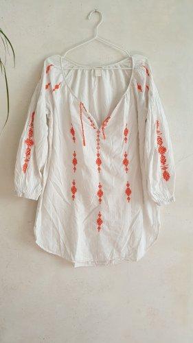 H&M Tunique de plage blanc-orange foncé coton