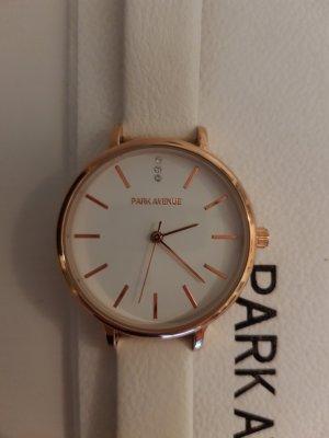 Weiße Uhr mit rosé goldenem Zifferblatt von Park Avenue, ungetragen