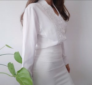 Weiße Vintage Bluse / Jäkchen Gr. M / 38