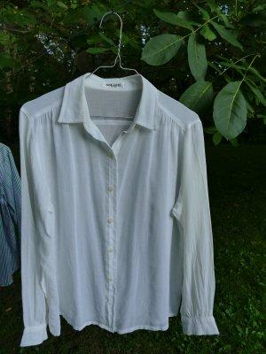 Weiße Vintage Smarti-Langarmbluse in transparentem Baumwoll-Crépe,  Gr. 42
