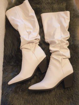 Botas estilo vaquero blanco tejido mezclado