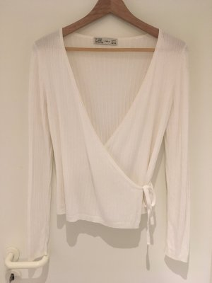 Zara Knitted Wrap Cardigan white viscose