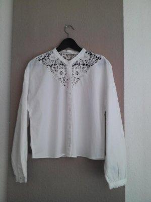 Weiße Zara Bluse mit Blumen lochstickerei 100% Baumwolle, Größe M neu