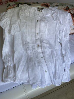 weiße Zara Leinenbluse mit Kragen
