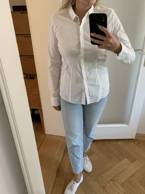 Weiße zeitlose Bluse Popline Baumwolle Gr 38