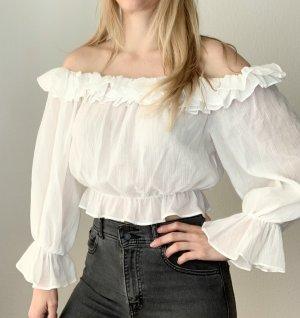 Zara Ruffled Blouse white-black