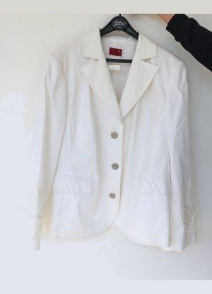 weißer Blazer von Samoon, mit Applikationen, Größe 46