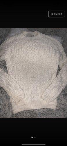 C&A Damen Strickpullover Zopfmuster Rollkragenpullover weiß Größe L