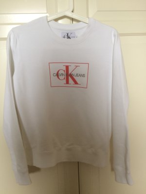 Calvin Klein Jeans Kraagloze sweater wit-rood
