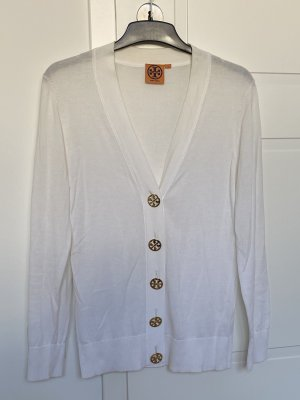 Weißer Cardigan mit goldenen Label-Knöpfen von Tory Burch