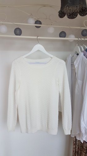 weißer Feinstrick Pullover