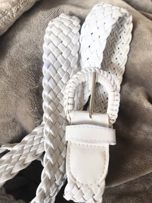 Braided Belt white-silver-colored imitation leather