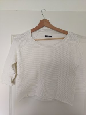 weißer gerippter Pullover, cropped, 3/4 Ärmel