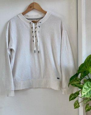 Weißer gerippter Pullover mit Schnürung von ROXY
